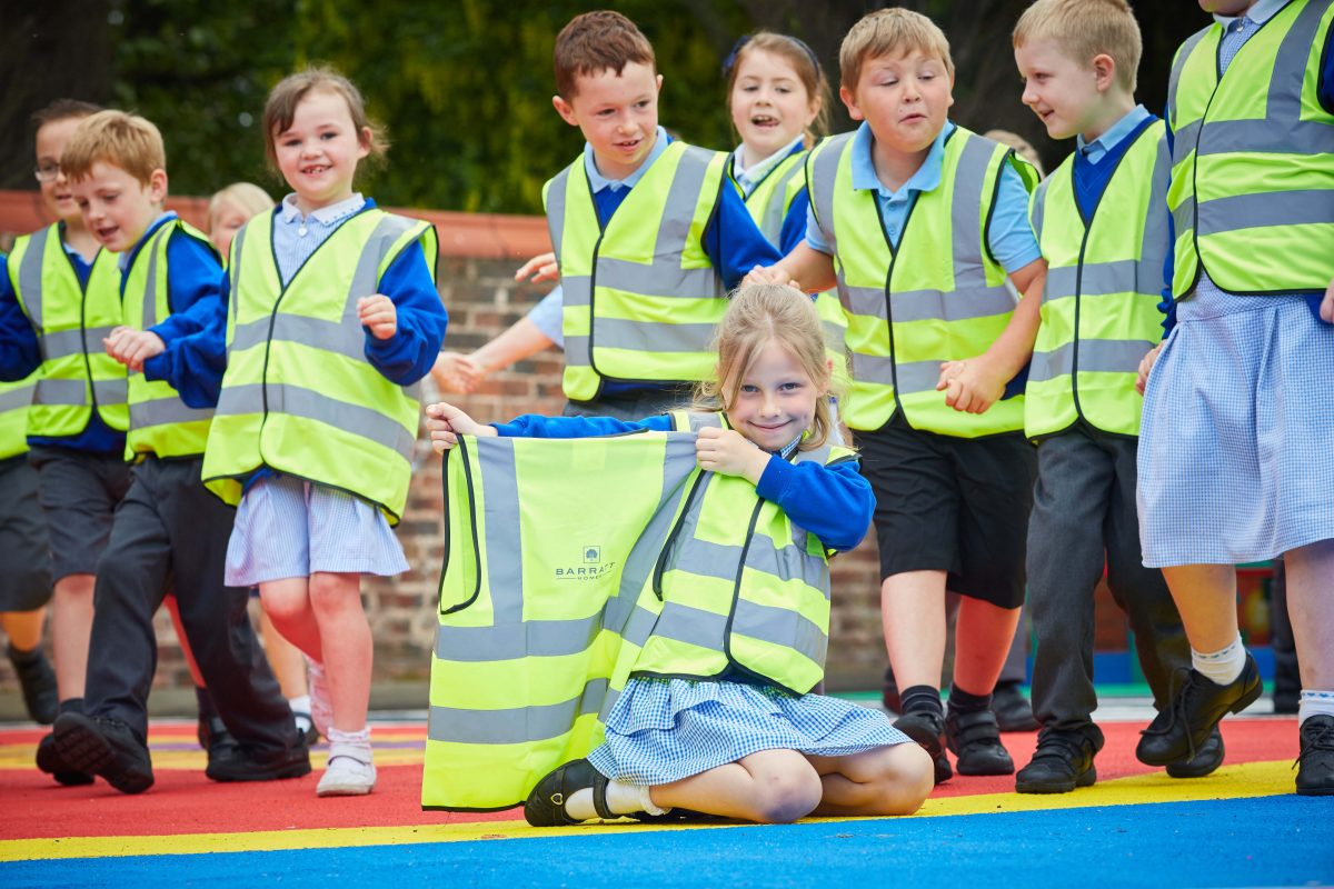 Barratt Homes have donated hi-visability jacket to children at Medlar with Wesham C of E school in Lancashire, part of their campaign to improve safety when children walk home from school.  Pictured Amelija (corr) aged 6 (no surname)