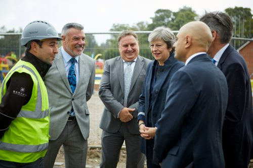 PM Theresa May with RMD Bernard Rooney, MD Neil Goodwin and Site Manager Steve Jordan