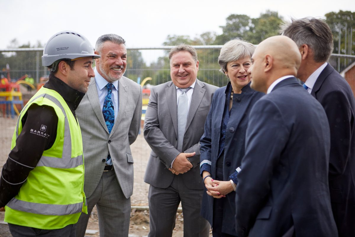 BARRATT Manchester Homes - Scholars Green site visit by Theresa May and her chancellor Philip Hammond.