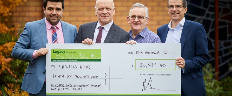 Barratt Homes Manchester donate 26,419.40 to Francis House in Didsbury.  Pictured Matt Paul,  Peter Foster, David Ireland and Mike Cleary,