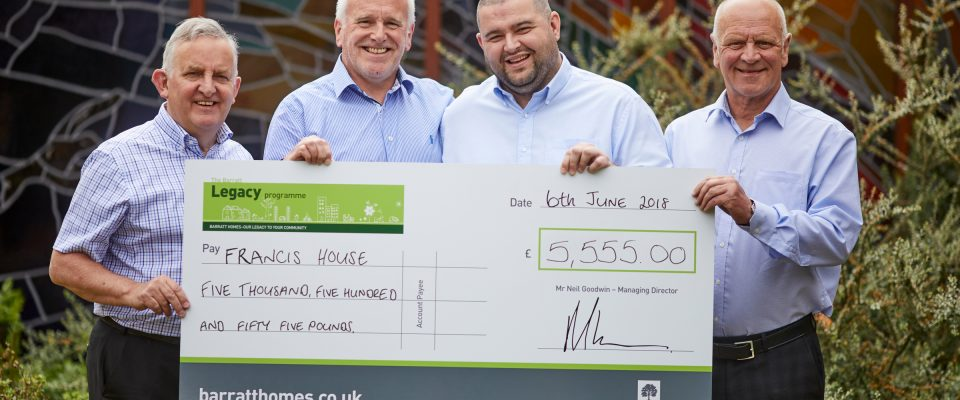 Barratt Homes Manchester make a donation to Francis House in Didsbury   David Ireland (FH) Barratt's Tony Heywood, Andy Williams, and Peter Forster 9FH)