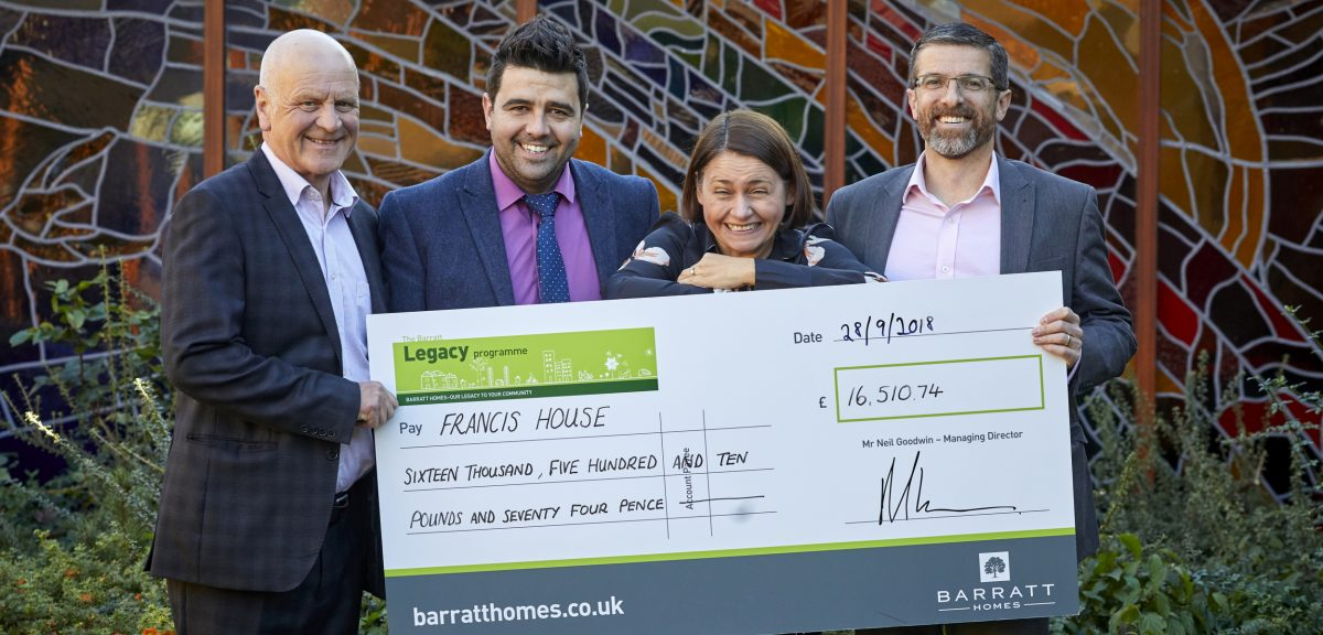 BARRATT MANCHESTER hand over their £16,510.74 donation to Francis House in Didsbury. The money was raised at their annual golf day.  Pictured L-R Peter Foster from FH, Matthew Paul, Rachael Taylor from FH and Mike Cleary