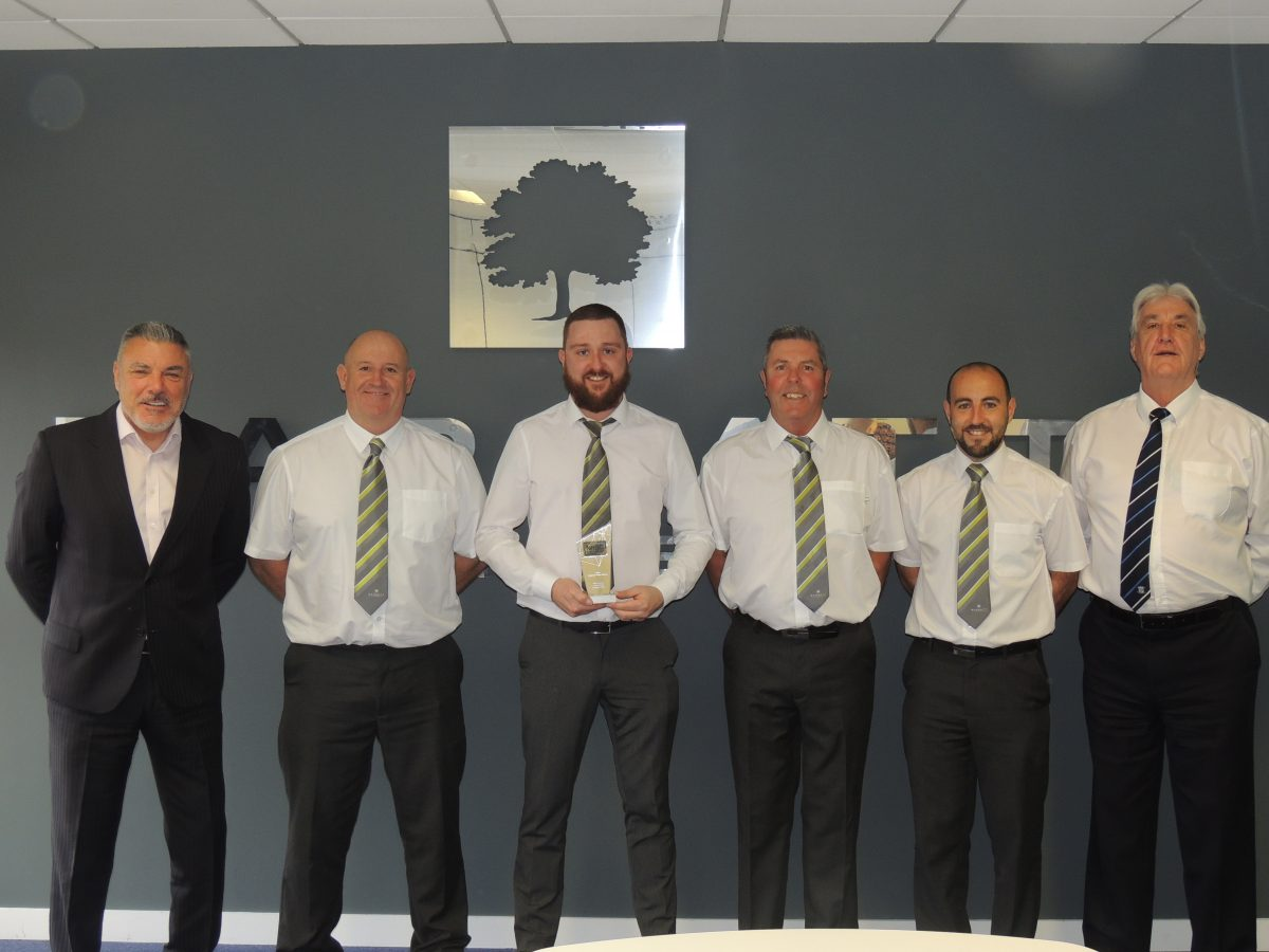 From L-R Managing Director Neil Goodwin, Site Managers Craig Hancock, Sean O'Regan, Jim Thomson, Steve Jordan and Construction Director John McNulty.