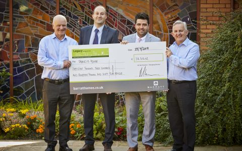 BARRATT Manchester continue to support Francis House Children's Hospice in Didsbury, South Manchester. with a donation from their golf day.  Pictured Peter Forster. Fundraising Manager from FH, Mark Cunliffe and Matt  Paul from Barratt and Revd David Ireland. Chief Executive Officer