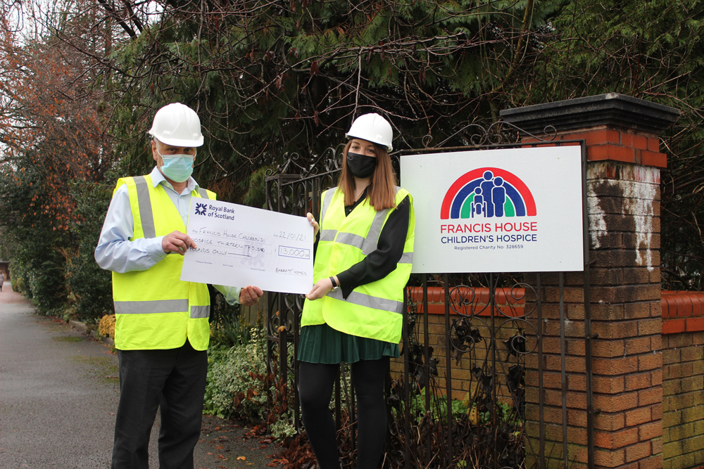 WEB2_BM - Staff at Francis House with a cheque from Barratt Homes